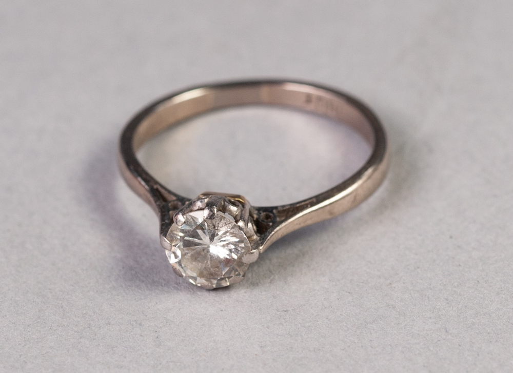 Lot 155 - 18ct WHITE GOLD RING CLAW SET WITH A ROUND BRILLIANT CUT SOLITAIRE DIAMOND, approximately .85ct, 3