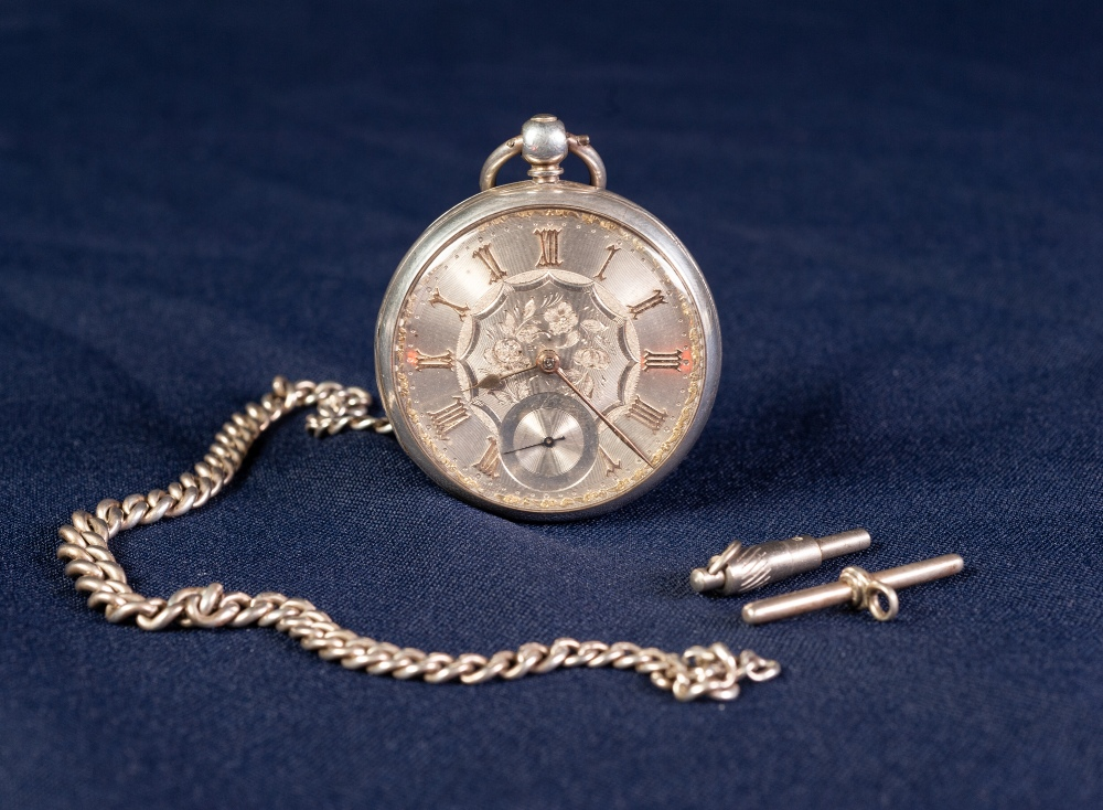 Lot 1 - VICTORIAN SILVER OPEN FACED POCKET WATCH, with keywind movement, engine turned silver dial with gold