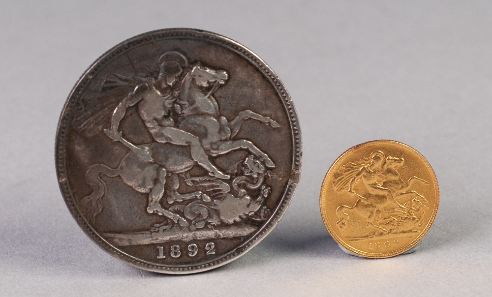 Lot 48 - EDWARD VII GOLD HALF SOVEREIGN 1906, 4gms and a VICTORIAN SILVER CROWN COIN 1892 (2)