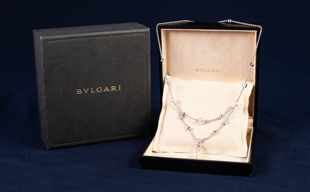 BULGARI 'LUCEA' 18ct WHITE GOLD, DIAMOND AND CULTURED PEARL FINE CHAIN NECKLACE, with two strand