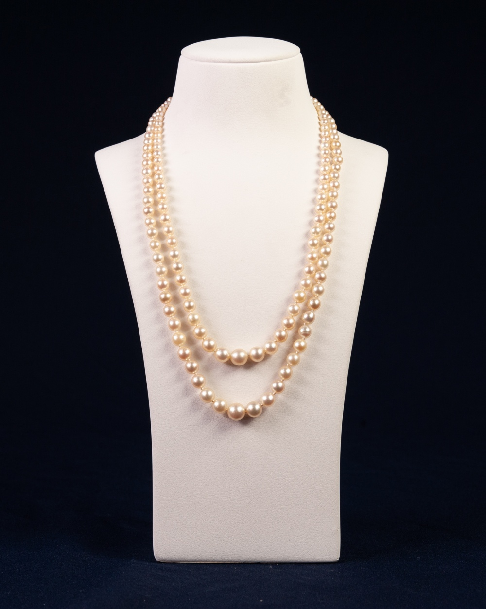 Lot 90 - TWO STRAND NECKLACE OF GRADUATED CULTURED PEARLS, 77 & 81 pearls; 3.6mm pearls up to 9mm pearls;