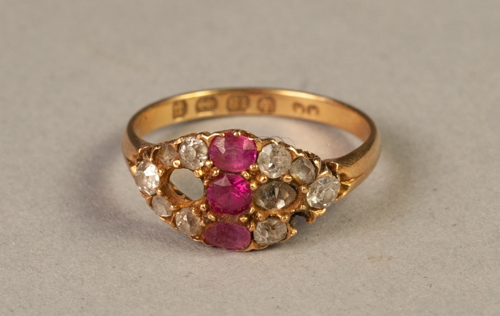 Lot 77 - VICTORIAN 18ct GOLD, RUBY AND DIAMOND RING, cross set with three rubies and flanked by a lozenge