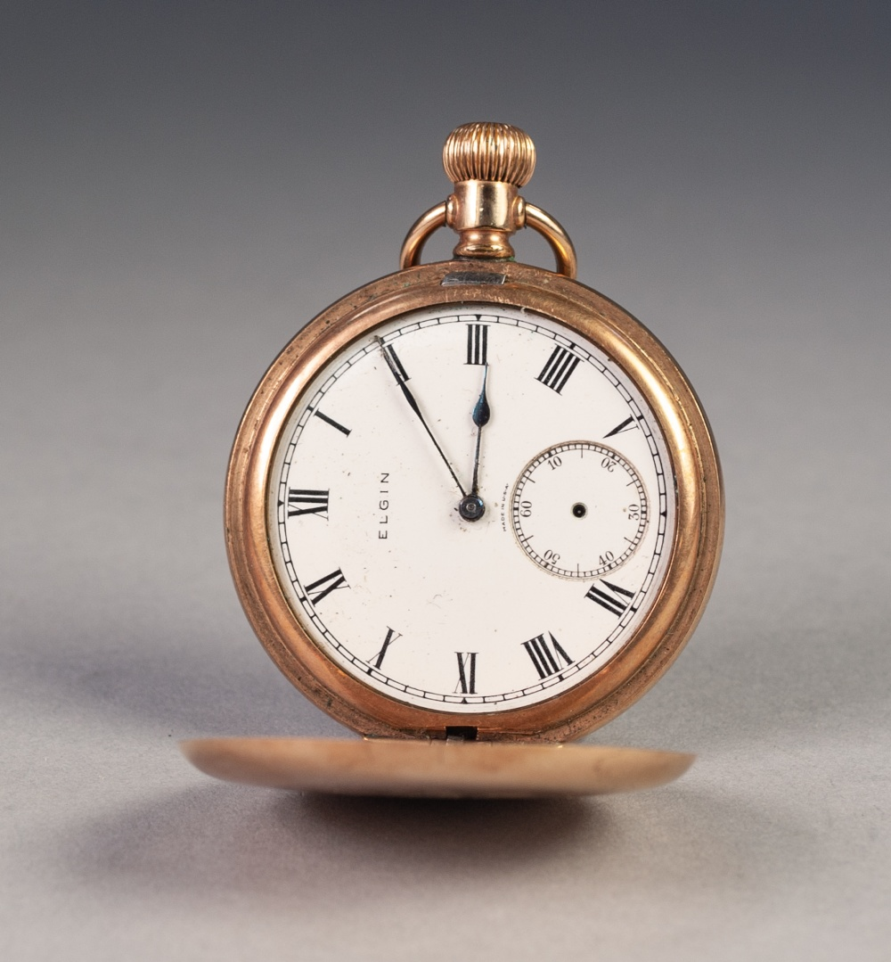 Lot 38 - ELGIN ROLLED GOLD HUNTER POCKET WATCH, with keyless 15 jewel movement, white Roman dial with