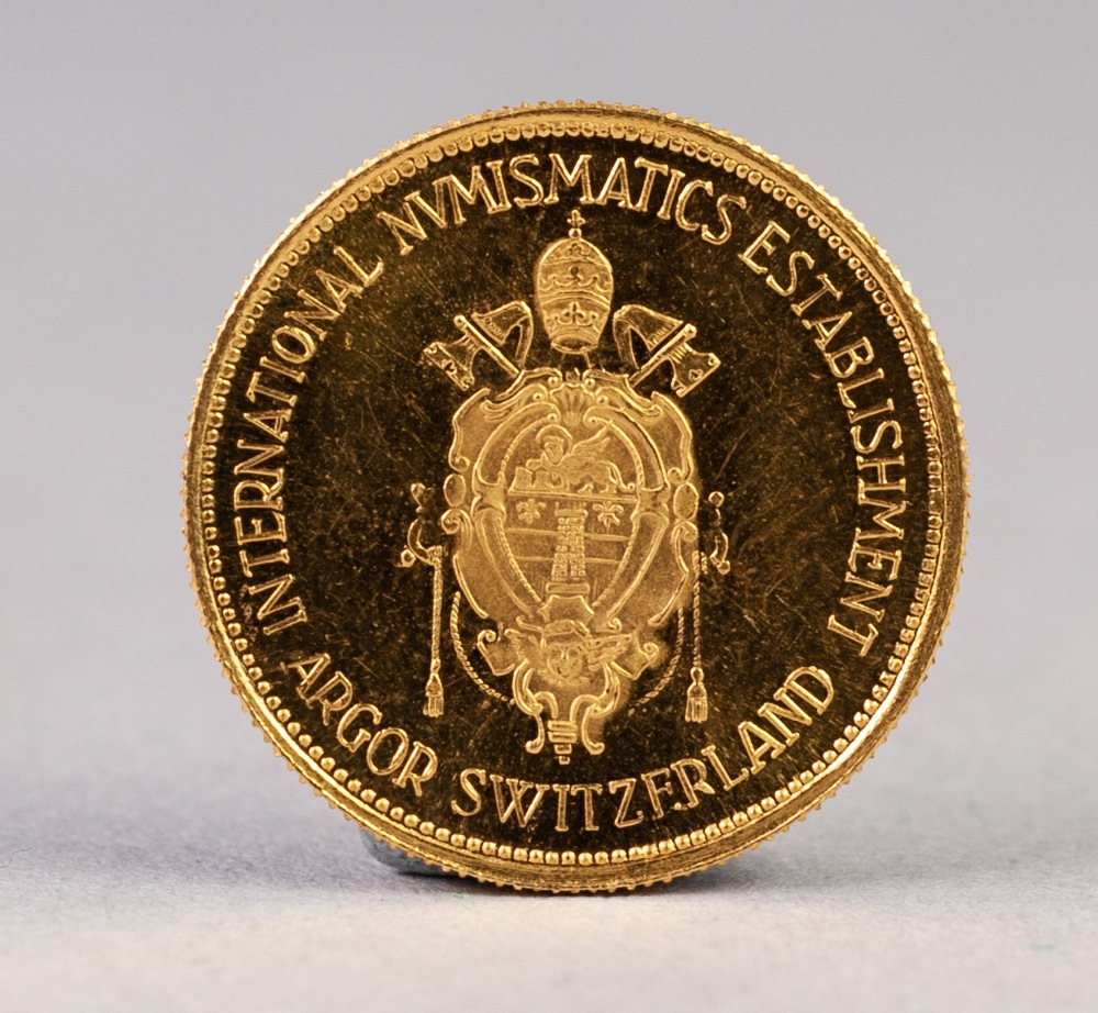 Lot 46 - SWISS COMMEMORATIVE GOLD COIN 'JOHANNES XXIII PONTIFEX MAXIMUS', 20mm, 3.5 gms, (uncirculated),