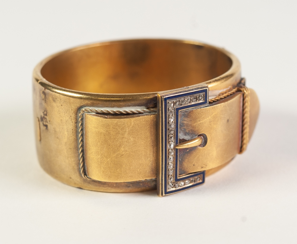 VICTORIAN GOLD COLOURED METAL HINGE OPENING BUCKLE BANGLE, 'buckle' top set with twenty three rose - Image 2 of 5