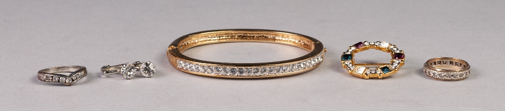 Lot 160 - 9ct GOLD AND WHITE STONE ETERNITY RING, a metal and cubic zirconia RING; a gold plate and paste