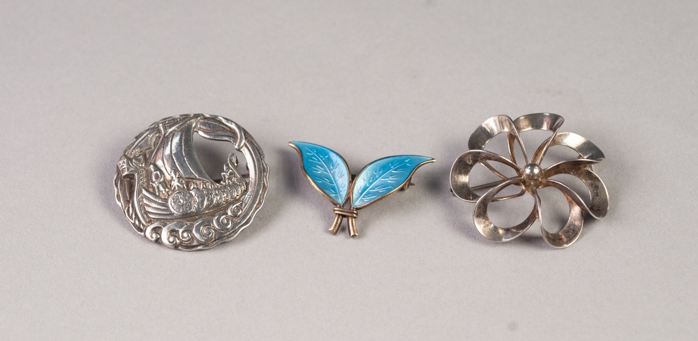 "Lot 163 - DAVID ANDERSEN, NORWAY, STERLING SILVER AND PALE BLUE ENAMELLED DOUBLE LEAF BROOCH, 1 1/2"" wide, N."
