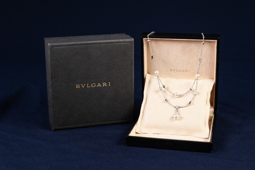 Lot 91 - BULGARI 'LUCEA' 18ct WHITE GOLD, DIAMOND AND CULTURED PEARL FINE CHAIN NECKLACE, with two strand