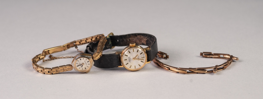 Lot 25 - LADY'S MONTINE, SWISS GOLD PLATED WRIST WATCH, with incabloc, 17 jewel movement, leather strap, A