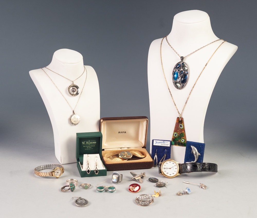 Lot 205 - STYLISH MODERN COSTUME JEWELLERY, some Celtic SILVER JEWELLERY, a lady's Waltham WRISTWATCH with