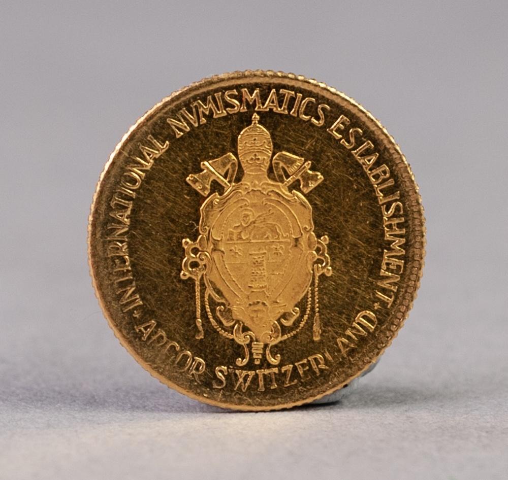 Lot 47 - SWISS COMMEMORATIVE GOLD COIN 'JOHANNES XXIII PONTIFEX MAXIMUS, 15mm, 1.8gms, (extra fine), circa
