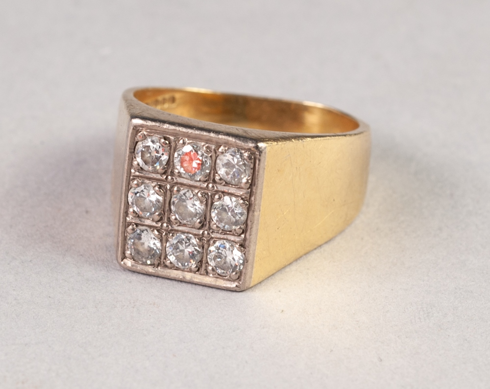 Lot 184 - GENTS 18ct GOLD SIGNET RING, the square top pave set with nine diamonds, each approx .15ct approx,