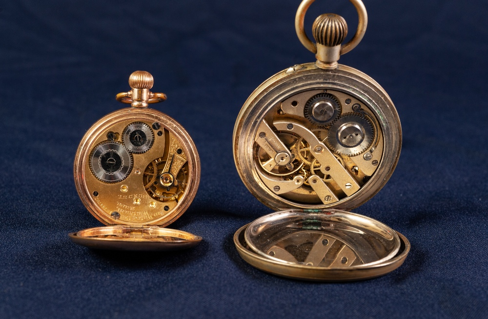 Lot 12 - EARLY 20th CENTURY WALTHAM GOLD PLATED CASED OPEN FACE KEYLESS POCKET WATCH also a LARGE RAILWAY