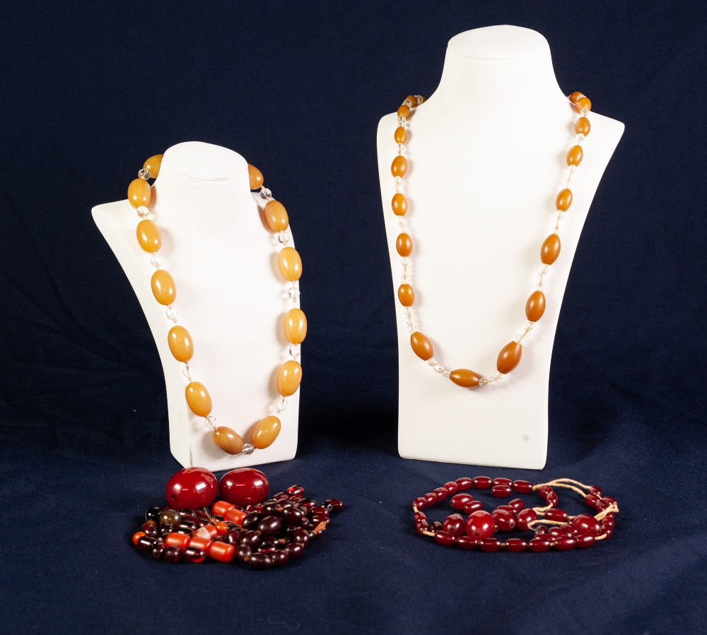 Lot 128 - AMBER COLOUR BEAD NECKLACE separated with glass beads and other DARKER AMBER COLOUR INCOMPLETE