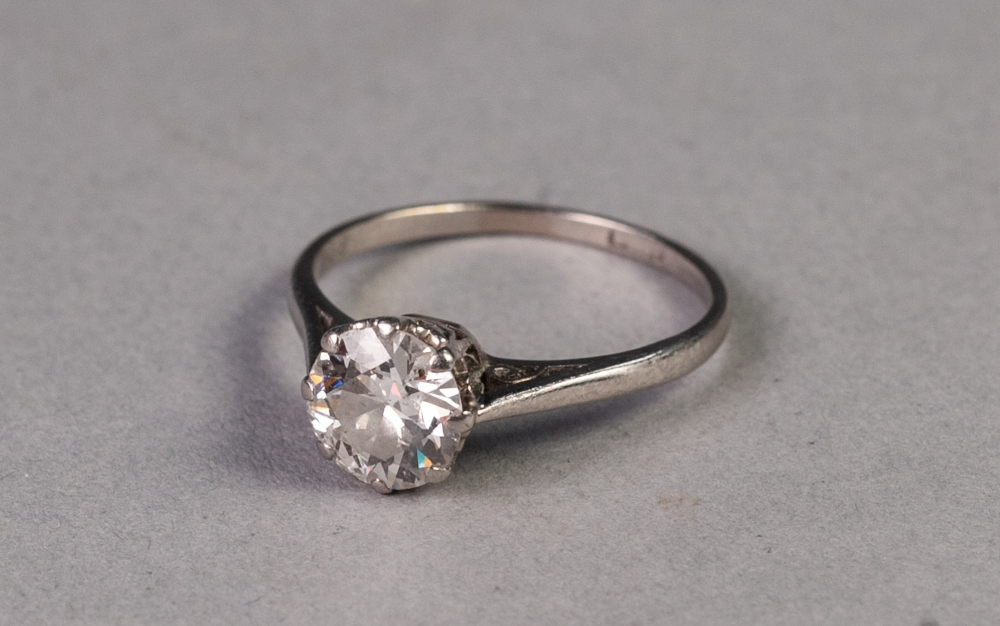 18ct GOLD RINGSET WITH A ROUND TRANSITIONAL CUT SOLITAIRE DIAMOND, 1.08ct, 2.6 gms, ring size L/M