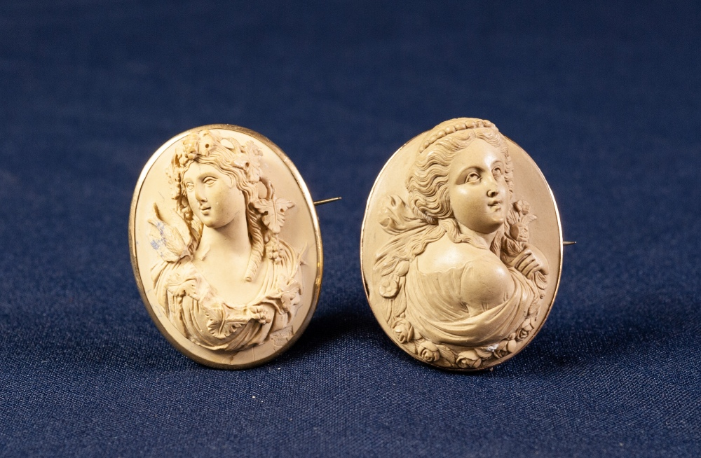 Lot 142 - VICTORIAN WELL-CARVED LAVA CAMEO BROOCH in thin 9ct GOLD MOUNT and another similar in unmarked