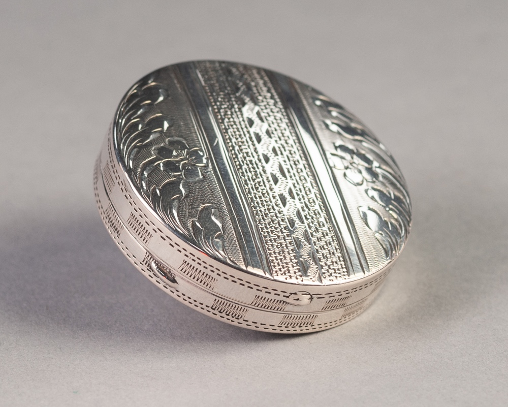 """Lot 228 - FOREIGN 800 STANDARD ENGRAVED SILVER COLOURED METAL POWDER COMPACT, 2"""" (5.1cm) diameter, 0.7oz"""