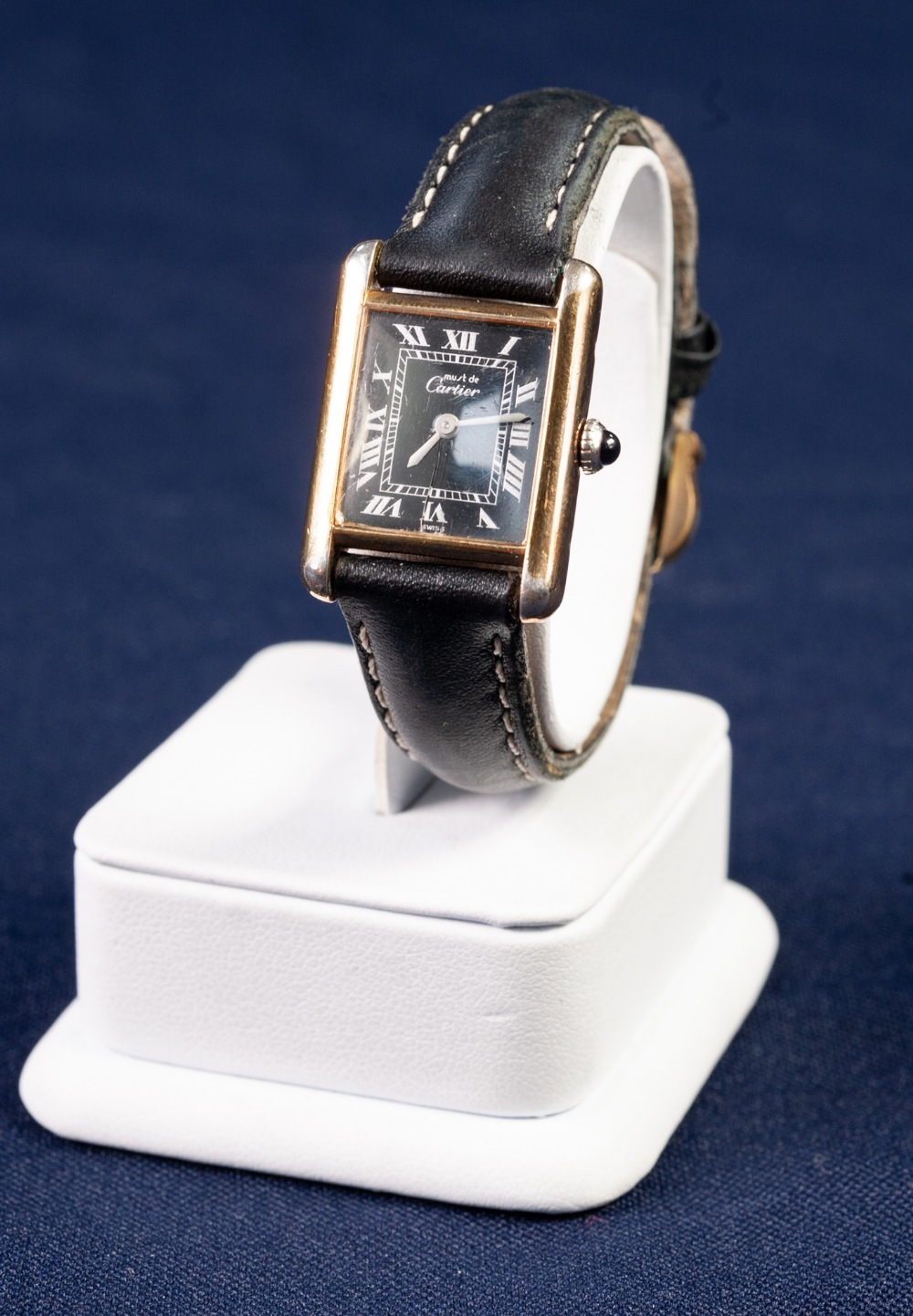 Lot 3 - LADY'S SILVER GILT MUST De CARTIER TANK WRIST WATCH, with mechanical Swiss movement, oblong black