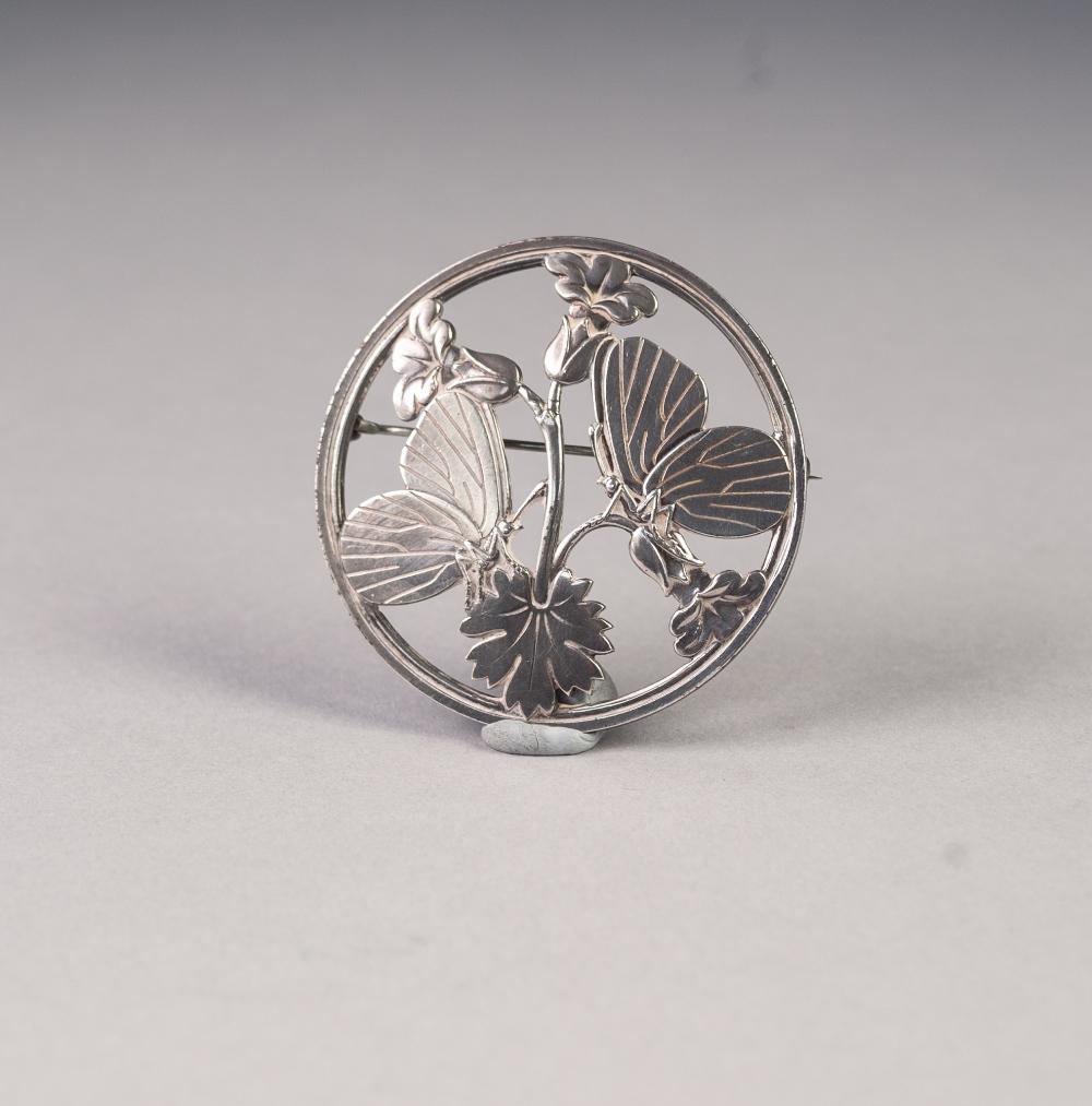 Lot 162 - A GEORG JENSEN, DANISH SILVER PIERCED CIRCULAR BROOCH 'Moonlight Blossom' No. 283, designed by