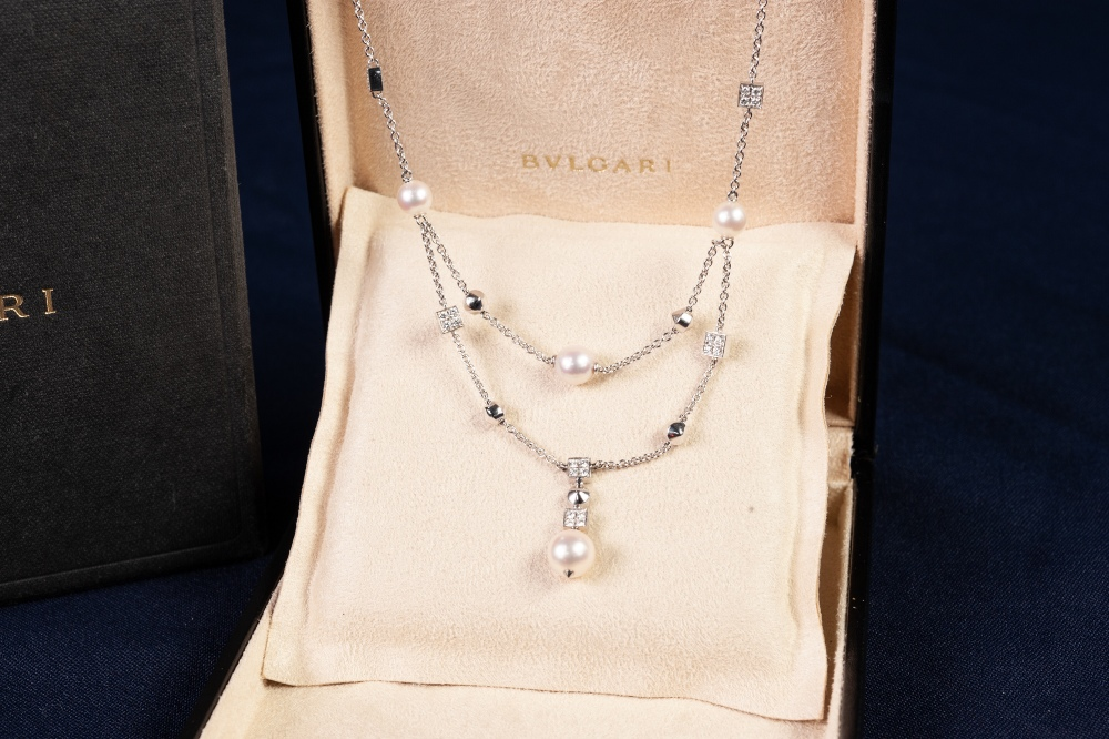 BULGARI 'LUCEA' 18ct WHITE GOLD, DIAMOND AND CULTURED PEARL FINE CHAIN NECKLACE, with two strand - Image 2 of 3