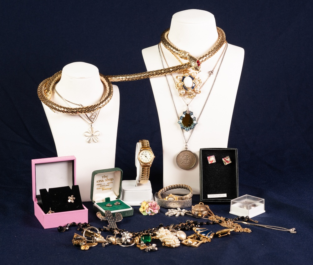 Lot 127 - SELECTION OF COSTUME JEWELLERY and THREE LADY'S WRISTWATCHES
