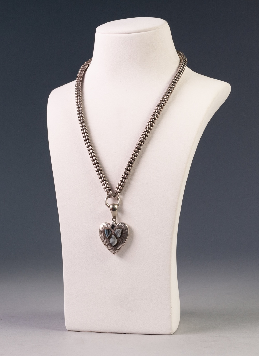 "VICTORIAN SILVER COLOURED METAL SQUARE SECTION LINK NECKLACE, 18"" long and the VICTORIAN HEART"