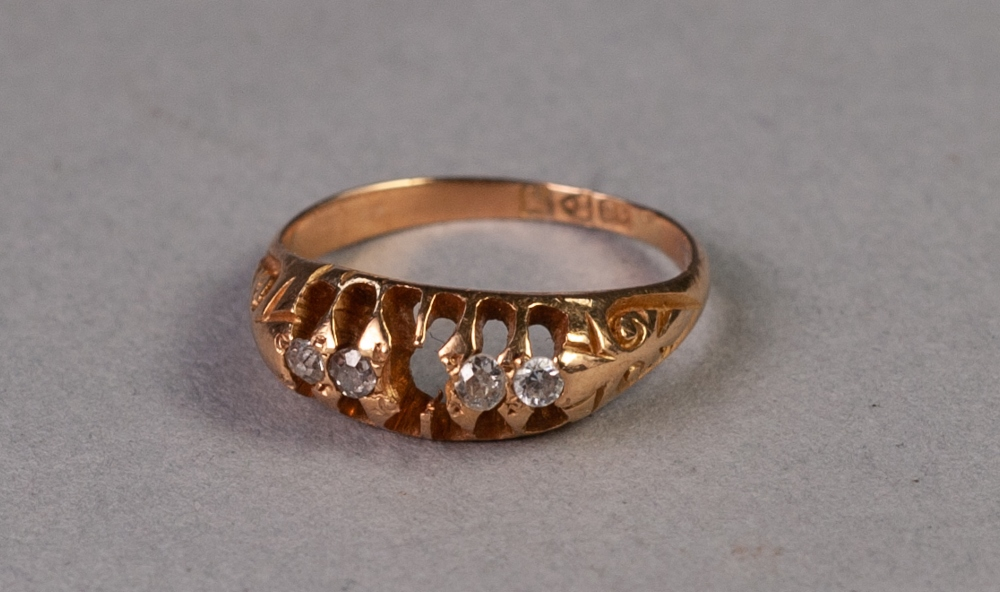 18ct GOLD RING WITH A LOZENGE SHAPED SETTING OF THREE TINY DIAMONDS AND ONE WHITE STONE, the