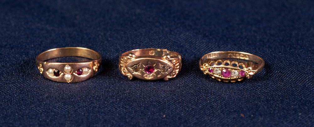 18ct GOLD RING SET WITH TWO TINY DIAMONDS AND THREE TINY RUBIES, another GOLD COLOURED METAL RING, a