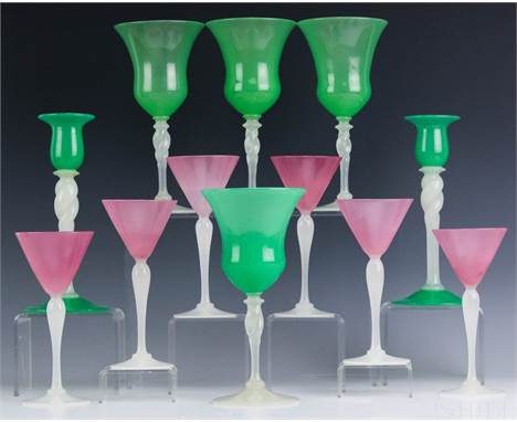 Steuben Stemware  (American, 20th Century)  Lot of 12  Rosaline and Jade Alabaster Glasses and Candlesticks  Signed, Bottom