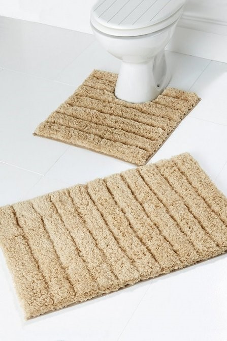 Lot 16 - 1 AS NEW BAGGED SUPER SOFT BATH MAT SET IN MOCHA (PUBLIC VIEWING AVAILABLE)