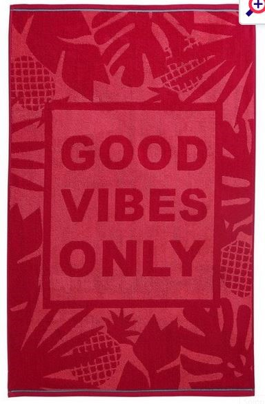 1 AS NEW BAGGED GOOD VIBES BATH TOWEL IN TEAL (PUBLIC VIEWING AVAILABLE)