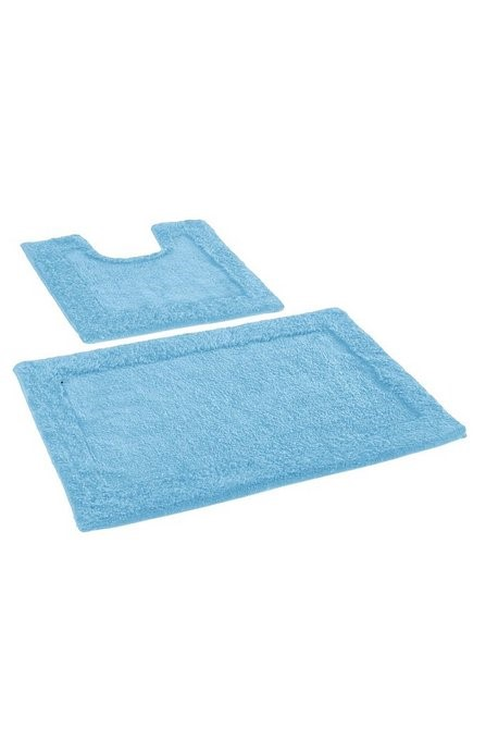 Lot 82 - 1 AS NEW BAGGED KINGSLEY 2 PIECE BATH MAT SET IN AQUA LAGOON (PUBLIC VIEWING AVAILABLE)