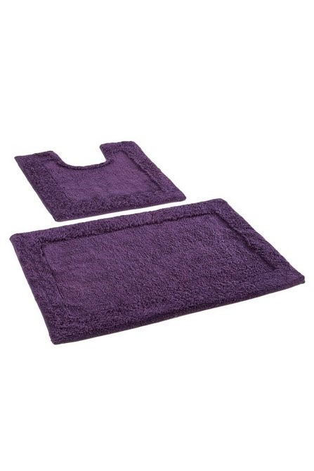 Lot 73 - 1 AS NEW BAGGED KINGSLEY 2 PIECE BATH MAT SET IN PLUM (PUBLIC VIEWING AVAILABLE)