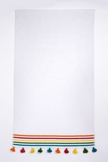 Lot 103 - 1 BAGGED RAINBOW HEADER HAND TOWEL IN WHITE (PUBLIC VIEWING AVAILABLE)