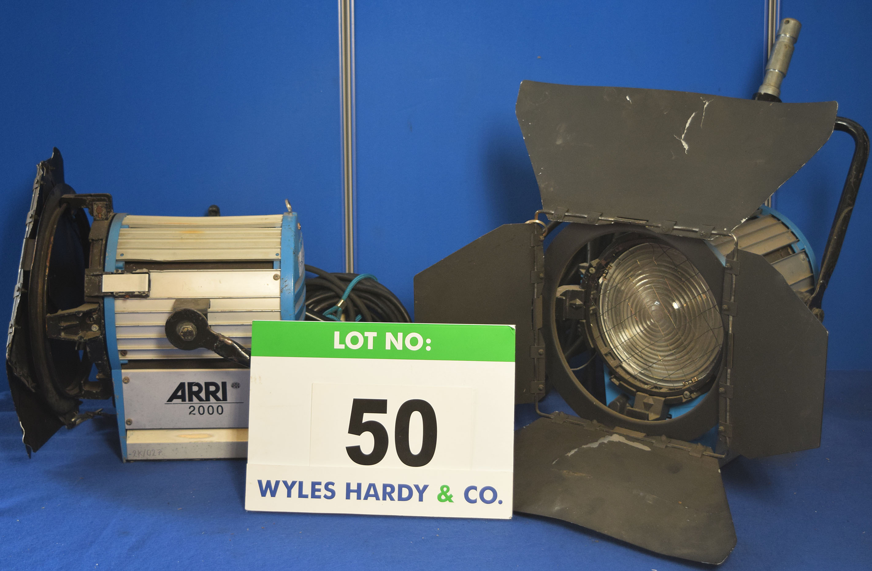 Lot 50 - Two ARRI 2000 2000W Lights each with fitted Barn Doors and Stirrup Mounts