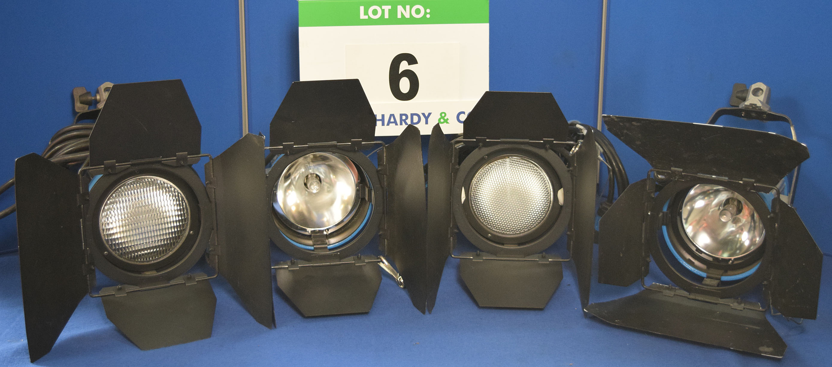 Lot 6 - Four ARRI Arrisun 200 200W Lights each with fitted Barn Doors and Stirrup Mount