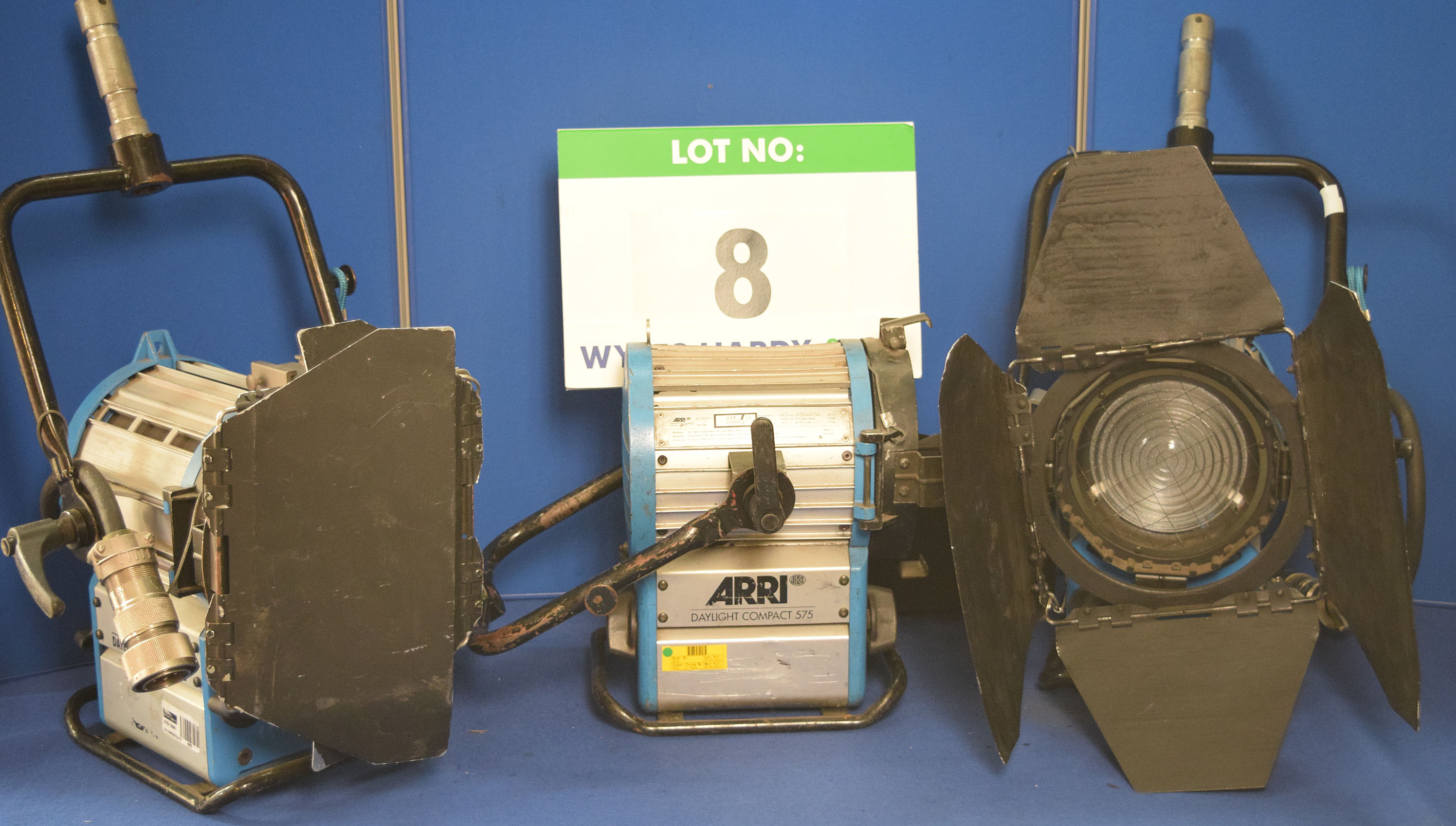 Lot 8 - Three ARRI Daylight Compact 575 Lights each with fitted Barn Doors and Stirrup Mount