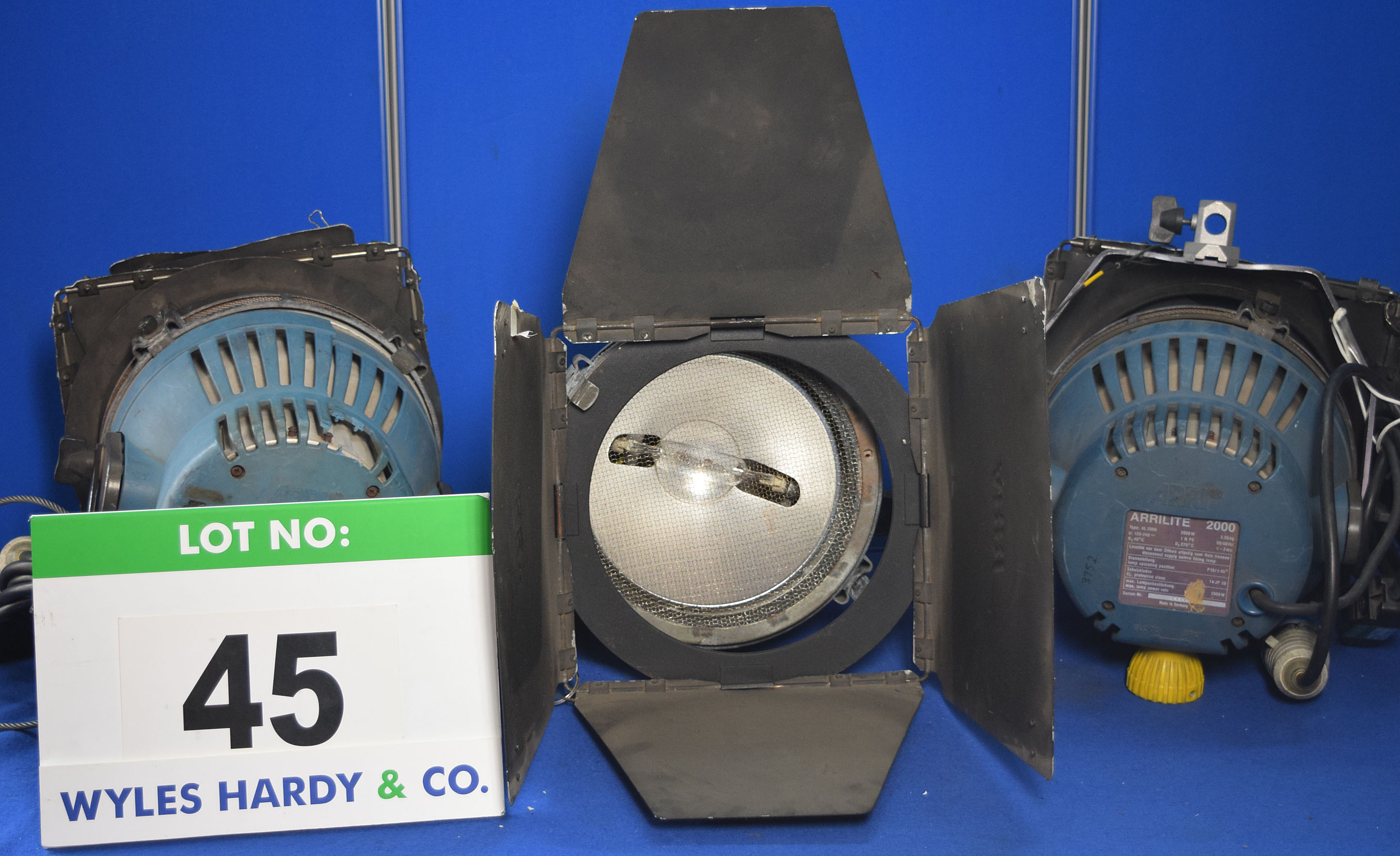 Lot 45 - Four ARRI Arrilite 2000 2000W Lights each with fitted Barn Doors, Stirrup Mount and Switched Power