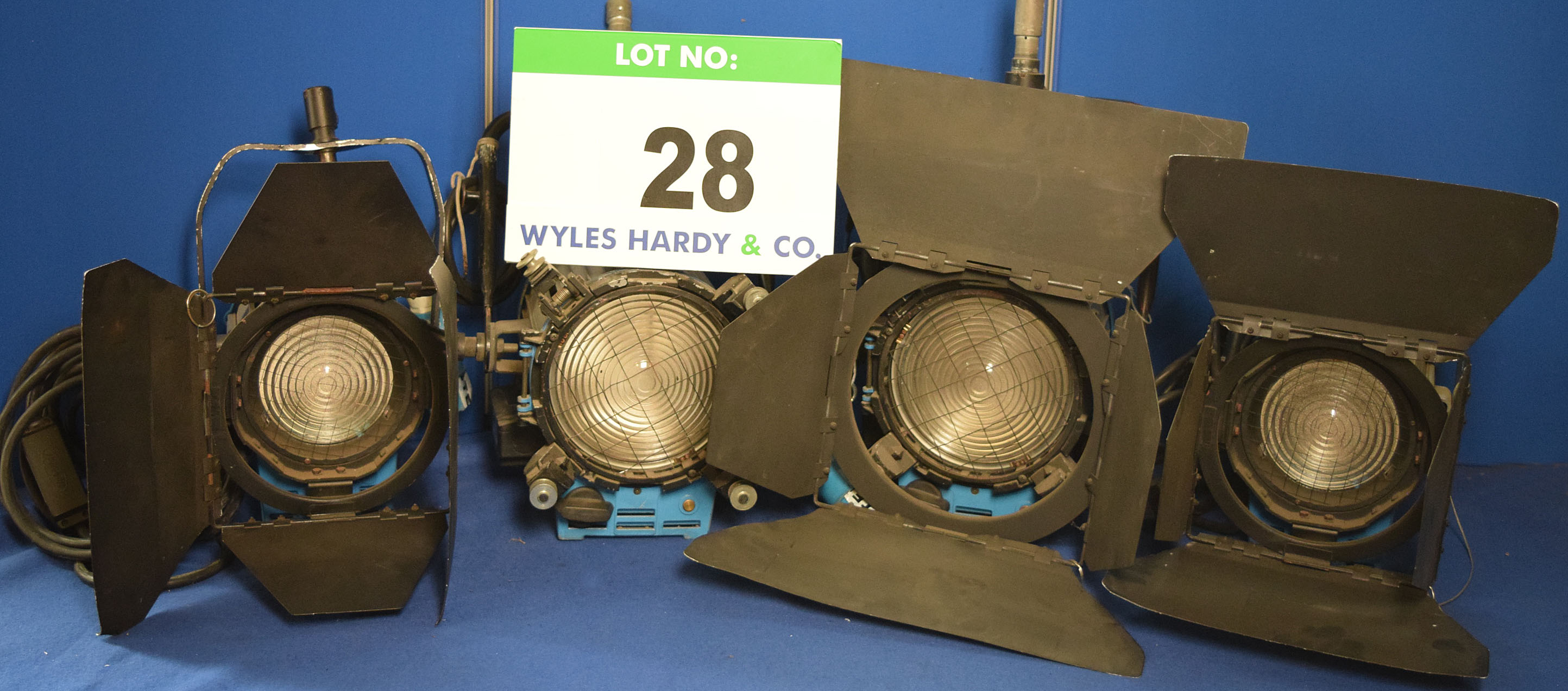 Lot 28 - Four ARRI Studio 1000 1000W Lights, Three with fitted Barn Doors and All with Stirrup Mounts and