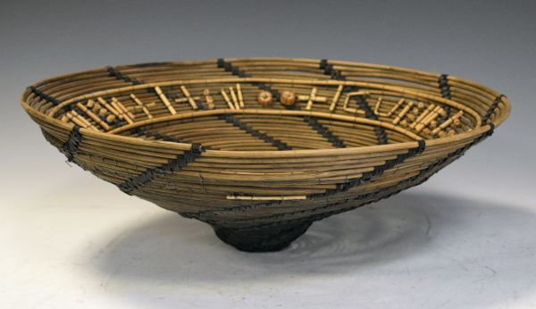 Dail Behennah - Wicker and bamboo bowl with wirework spiral decoration, signed and dated 1992