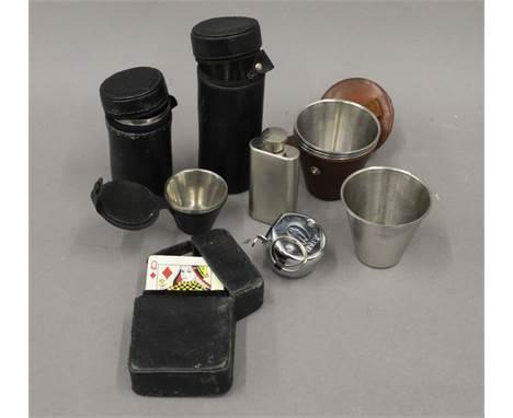 A quantity of stirrup cups, hip flask, etc.