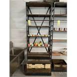 """Superbe Étagère/ Biblio à Produits 8' x 34""""L - Métal lourd / Bois travaillé et (2) tiroirs storage"""