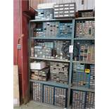 LOT - (2) SHELVES W/ CONTENTS TO INCLUDE: HARDWARE, ELECTRIC CIRCUITS