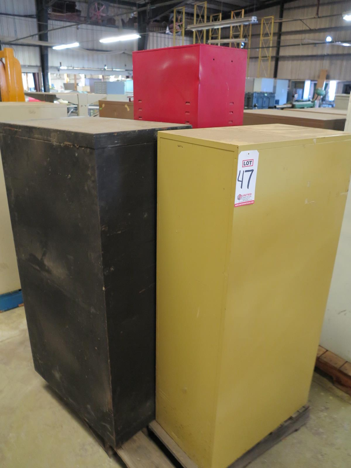 Lot 47 - LOT - PALLET W/ (3) FILE CABINETS AND (1) SMALL LOCKER