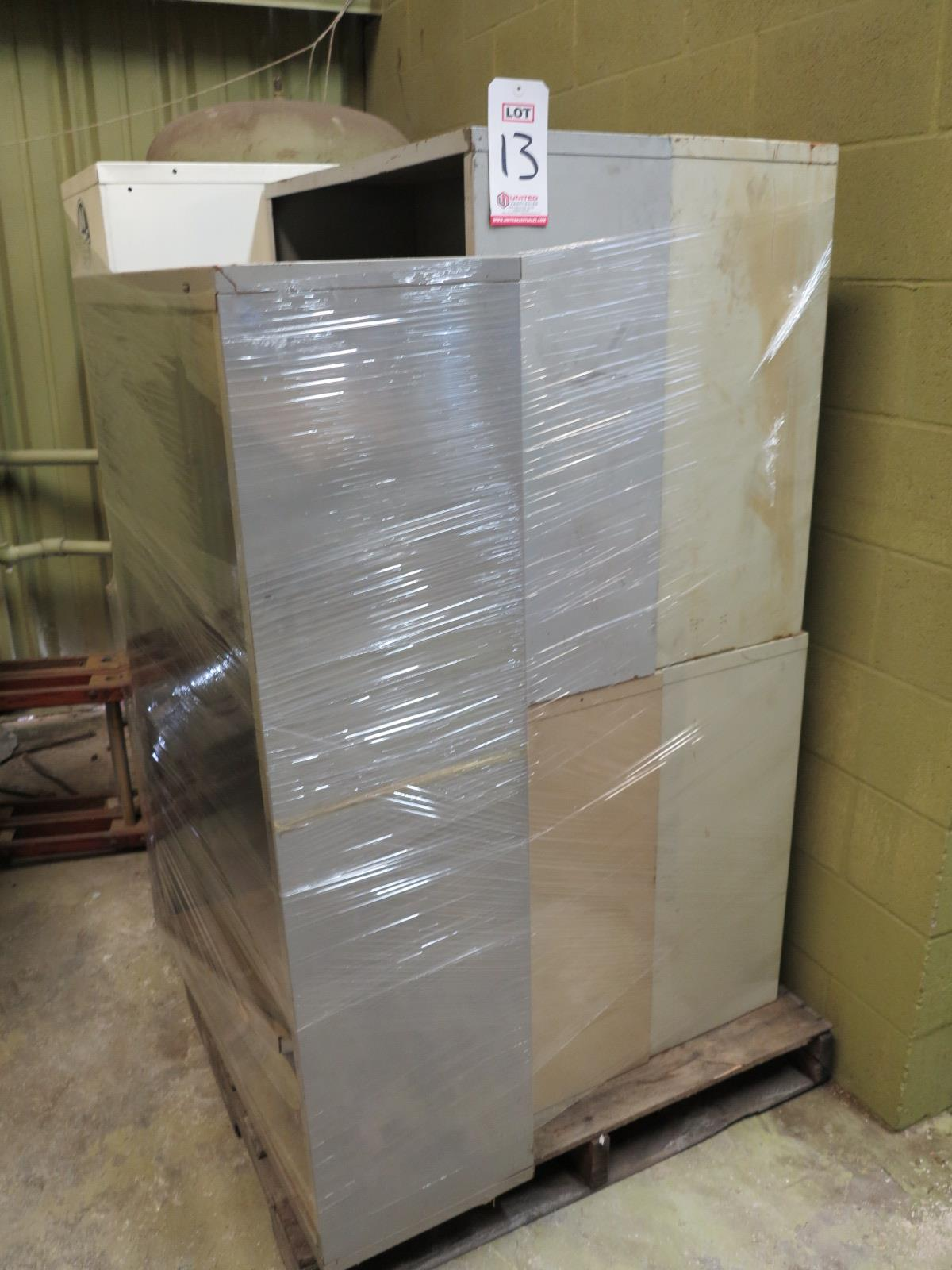 Lot 13 - LOT - PALLET W/ (5) FILE CABINETS, (2) MISC CABINETS