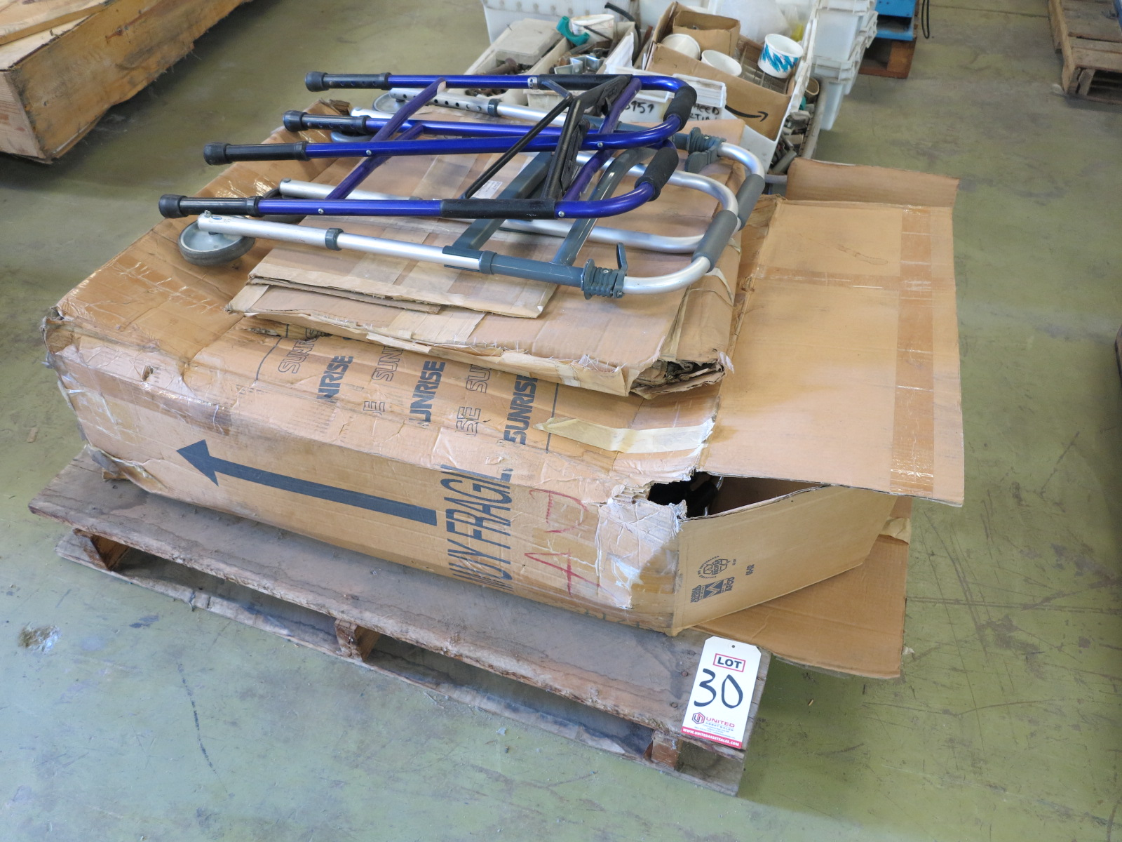 Lot 30 - LOT - PALLET W/ (1) WHEEL CHAIR AND (2) WALKERS
