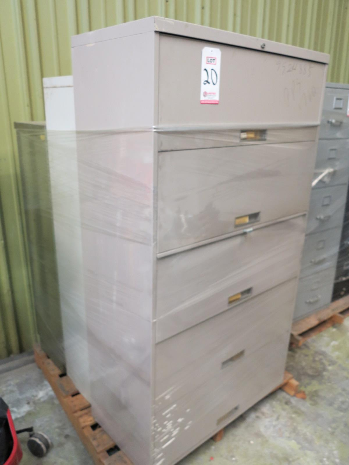 Lot 20 - LOT - PALLET W/ (2) SHELVES, (1) FILE CABINET