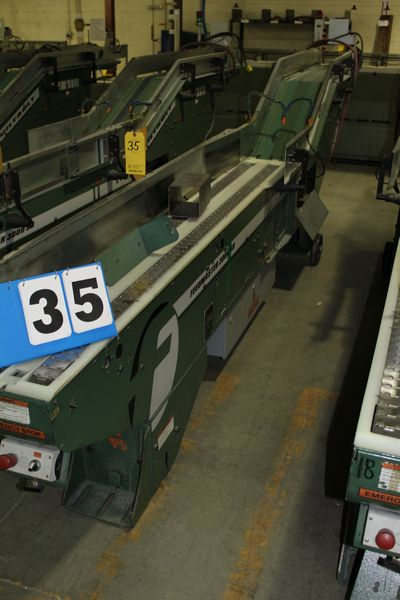 Lot 35 - FAEUILTAULT MDL 3000 SB MAGAZINE FEEDER, 16' L FEEDER W/ STAINLESS STEEL ROLL TOP CONVEYOR &