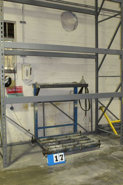 "Lot 17 - 1 SECTION PALLET RACK, 12' UPRIGHT X 42"" UPRIGHT, 9' CROSS BEAM, W/ BATTERY CHARGING STATION"