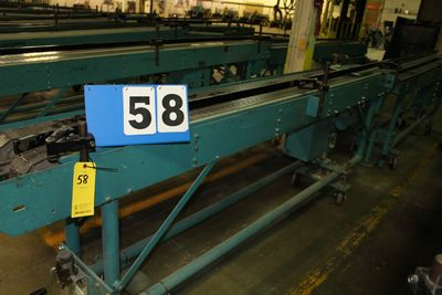 Lot 58 - MCCAIN SADDLESTICH BUNDLE FEEDERS, 10' FEEDER EA W/ RUBBER ROLL TOP CONVEYOR, 1997